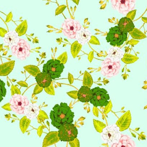 Chinoserie Rose  in Green & Pink