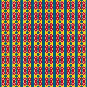 Folk Art Stripe   -Red and Yellow on Teal