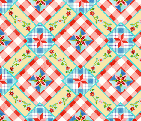 Cottage Chic Gingham Allover fabric by patriciasheadesigns on Spoonflower - custom fabric
