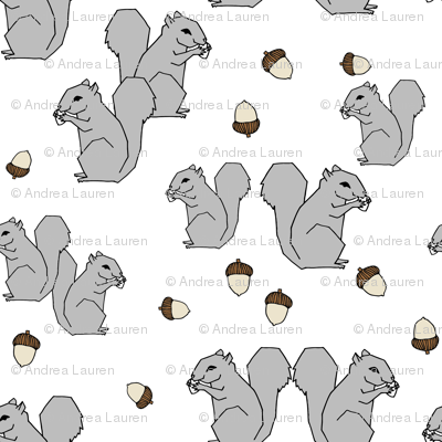 squirrel fabric // squirrels forest grey kids autumn fall  forest baby