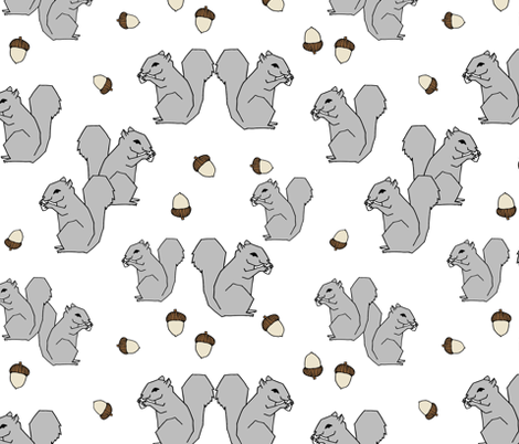 squirrel fabric // squirrels forest grey kids autumn fall  forest baby  fabric by andrea_lauren on Spoonflower - custom fabric