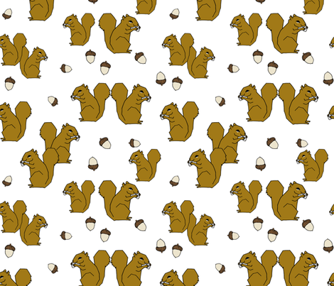 squirrel fabric // squirrels ochre brown kids woodland fall autumn fabric by andrea_lauren on Spoonflower - custom fabric