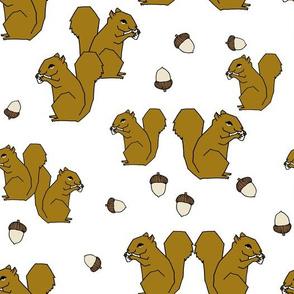 squirrel fabric // squirrels ochre brown kids woodland fall autumn
