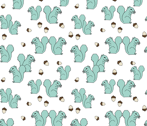 squirrel fabric // mint kids woodland forest acorns fall autumn kids design fabric by andrea_lauren on Spoonflower - custom fabric