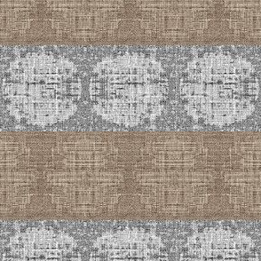 Circular silk horiz. stripe - taupe and grey