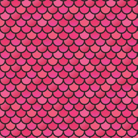Mermaid fish scales pinks on black fabric little fish for Fish scale wallpaper