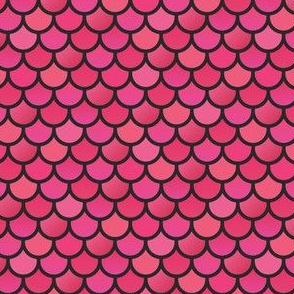 Mermaid fish scales - pinks on black