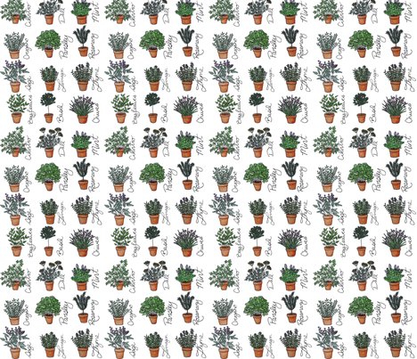 Teracotta Herb Garden fabric by ottdesigns on Spoonflower - custom fabric