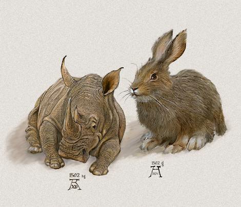 Rhino and Hare - Large fabric by wren_leyland on Spoonflower - custom fabric