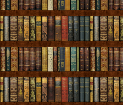 Monsieur Fancypantaloons' Instant Bookcase ~ Custom Size fabric by peacoquettedesigns on Spoonflower - custom fabric