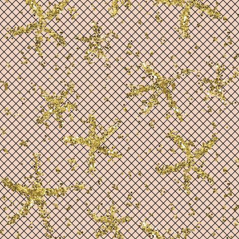 Sparkly stars on net over pale peach by Su_G (NOW LARGER AT 350ppi) fabric by su_g on Spoonflower - custom fabric