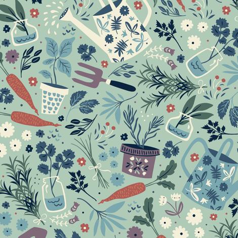 Garden Herbs fabric by annadeegan on Spoonflower - custom fabric