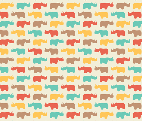 happy rhino fabric by martamunte on Spoonflower - custom fabric