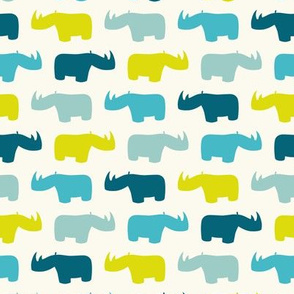Rhinos in blue and lime