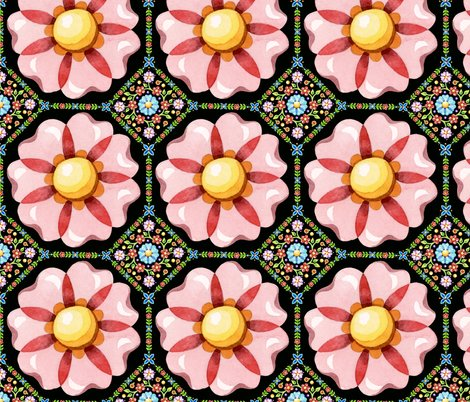Rpatricia-shea-designs-millefiori-pink-flower-repeat-black_shop_preview