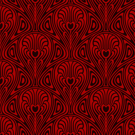 Nouveau Swirl red fabric by whimzwhirled on Spoonflower - custom fabric