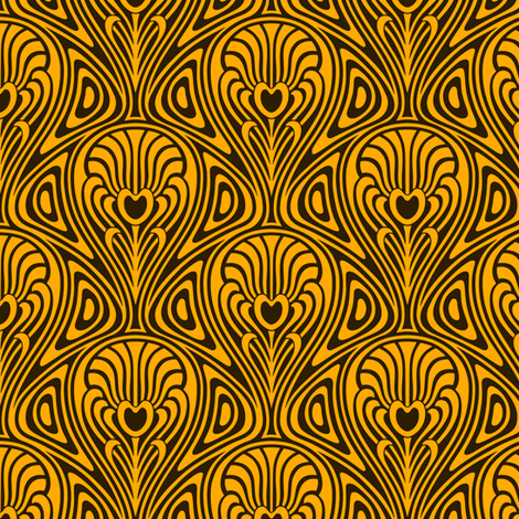 Nouveau swirl gold fabric by whimzwhirled on Spoonflower - custom fabric