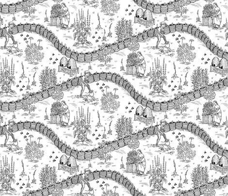 Medieval Herb Garden Black and White fabric by vinpauld on Spoonflower - custom fabric