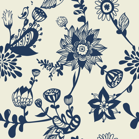 Navy floral doodles fabric by smileysunday on Spoonflower - custom fabric