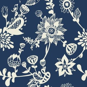 Ecru floral doodles on navy blue background