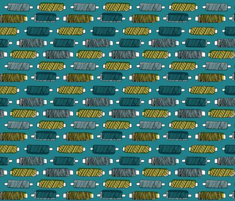 spools on blue fabric by oohoo_designs on Spoonflower - custom fabric