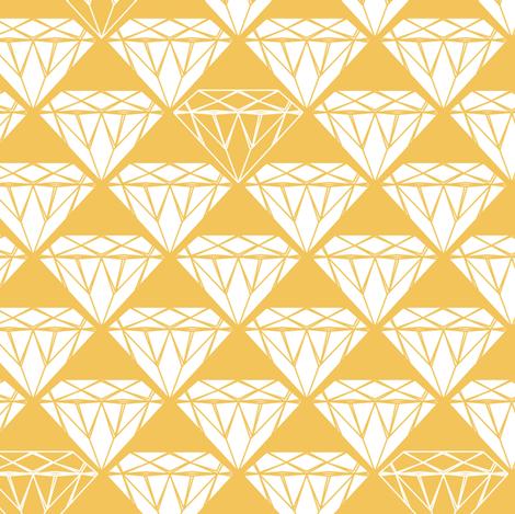 white facet diamonds on mustard fabric by coggon_(roz_robinson) on Spoonflower - custom fabric