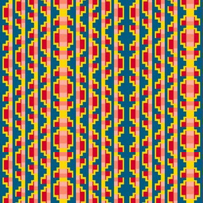 Folk Art Stripe 3  -Yellow, Red and Coral on Teal