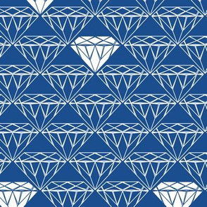 white line diamonds on blue