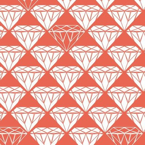 white facet diamonds on coral