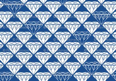 white facet diamonds on blue