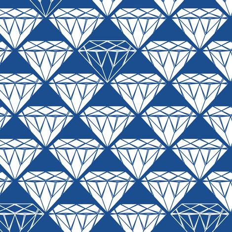 white facet diamonds on blue fabric by coggon_(roz_robinson) on Spoonflower - custom fabric