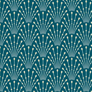 art deco beads_yellow on teal blue