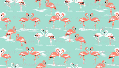 Flamingos love mint - large