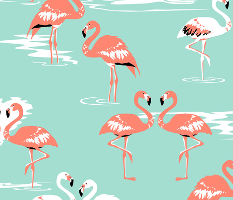 Flamingos love mint - large fabric by coggon_(roz_robinson) on Spoonflower - custom fabric