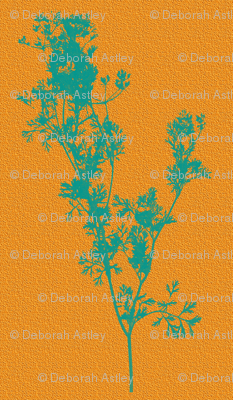 Silhouettes of Teal Cilantro on Summer Zest Sunshine
