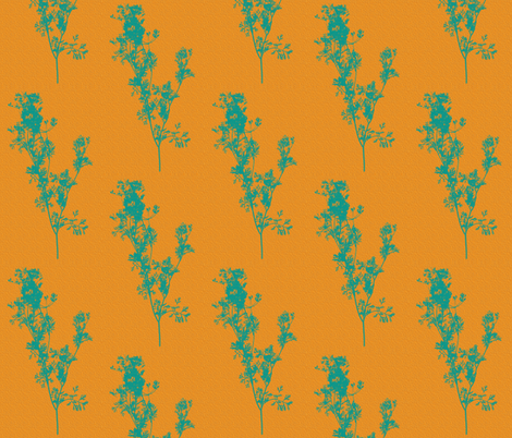 Silhouettes of Teal Cilantro on Summer Zest Sunshine fabric by anniedeb on Spoonflower - custom fabric