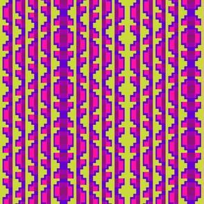 Folk Art Stripe 3   -Blue Violet, Strawberry, and Purple on Soft Lime