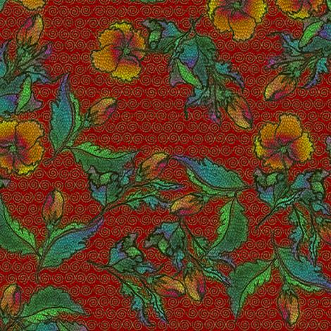Shy Fleurs - Tattooed Cinnabar Dragon fabric by glimmericks on Spoonflower - custom fabric