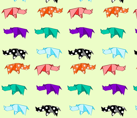 Rhino Origami fabric by yourfriendamy on Spoonflower - custom fabric