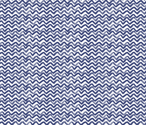 Zig Zag waves Navy fabric by jillbyers on Spoonflower - custom fabric