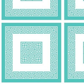 Greek's Key in Teal
