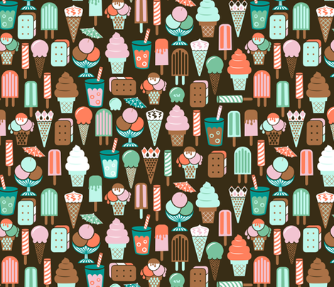 At The Ice Cream Parlour fabric by studio_amelie on Spoonflower - custom fabric