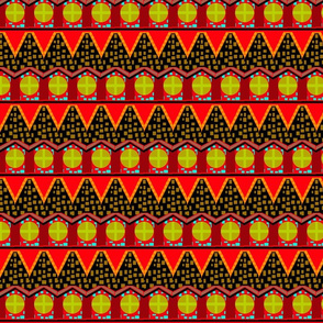 bright zigzag with red flags and lime circles