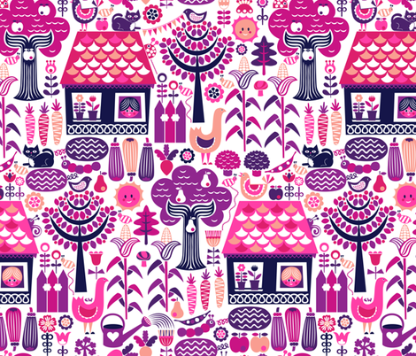 Eggplant Cottage Garden fabric by studio_amelie on Spoonflower - custom fabric