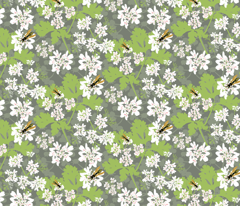 Coriander and Wasps fabric by vinpauld on Spoonflower - custom fabric