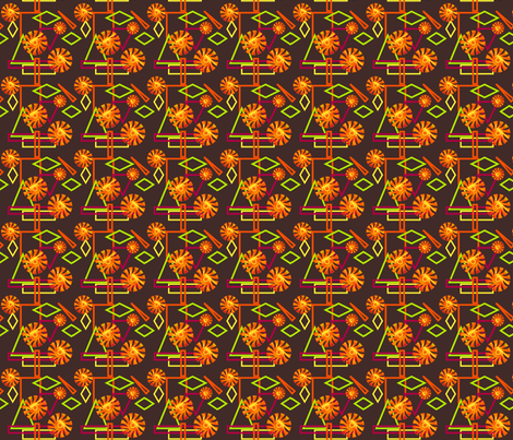 Stylized Summer Sun on Dark Brown Small fabric by gingezel on Spoonflower - custom fabric