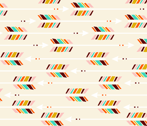 Large Arrows: Horizontal Ivory fabric by nadiahassan on Spoonflower - custom fabric