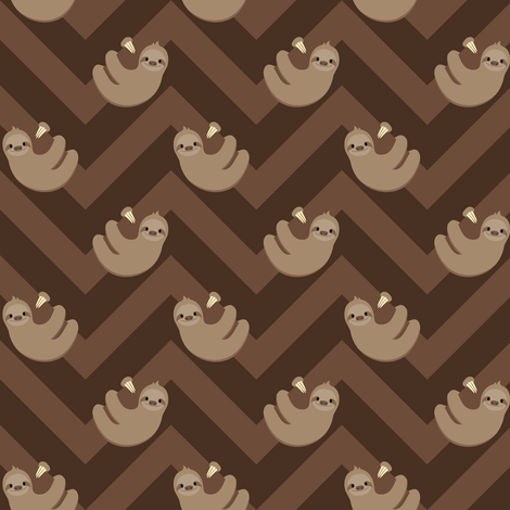 Smaller Sloths and chevrons fabric by petitspixels on Spoonflower - custom fabric
