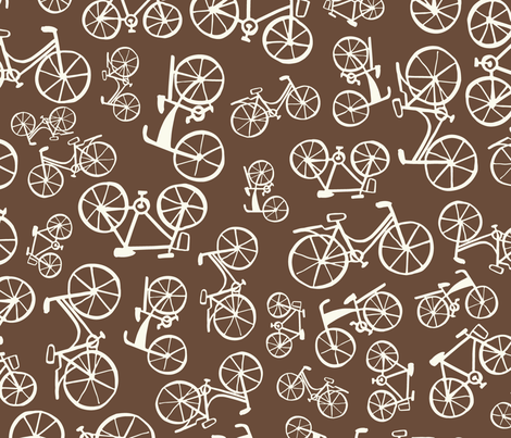 bikes in a chocolate land fabric by martamunte on Spoonflower - custom fabric