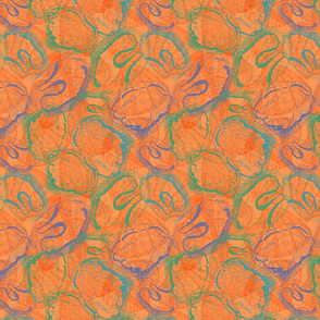 Shell I? Shan't I? Sea shell fabric in orange